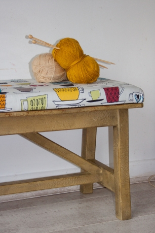 Funky retro upholstered bench